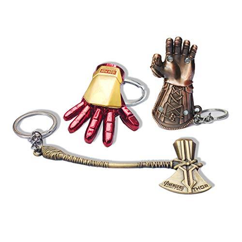 (3pcs Superhero Key Chain Thor Stormbreaker Axe Keychain Thanos Glove Key Ring Iron Man Keychains Men's Superhero Accessories)