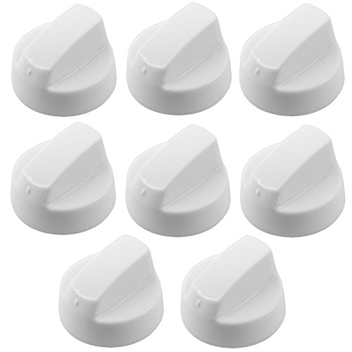 Spares2go White Control Knobs For Leisure Oven Cooker & Hob (Pack Of 8 + Adaptors)