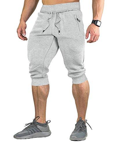 FASKUNOIE Men's Active Training Long Shorts Below Knee Short Pants Capri Pants Messenger Shorts