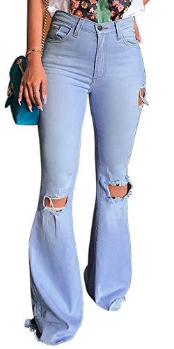 SHINFY Women Destoryed Flare Jeans Ripped Hole Stretchy Bell Bottom Raw Hem Denim Pants