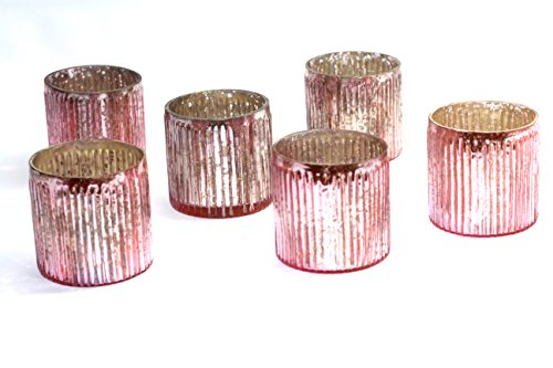 Antique Pink Glass (mercury glass ribbed votive - set of 6 (pink))