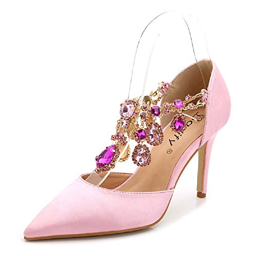 Femmes Pointu 37Rose Slip Bout Eu Mariage ChaussurescoloréVertTaille Escarpins Strass Qiusa On q345RjAL