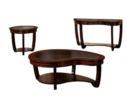 Furniture of America Byrnee 3-Piece Accent Table Set with 5mm Beveled Glass Tops, Dark Cherry Finish