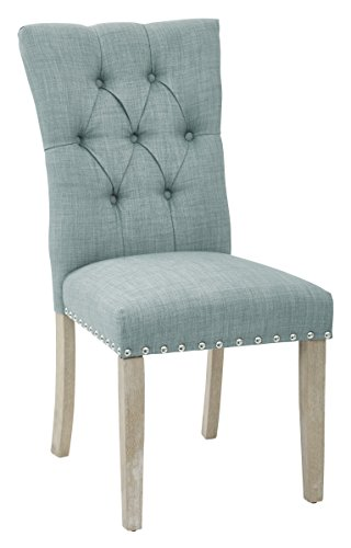 Office Star Preston Fabric Seat and Tufted Back Dining Chair With Brushed Rustic Wood Legs and Nailhead Accents, Marlow Bluebird