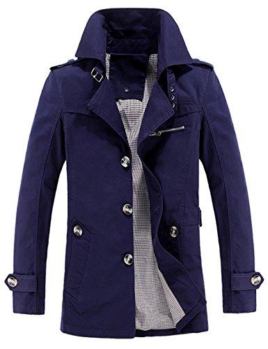 Cotone Cappotto A Cappuccio Manica Lunga Giacca Antivento Uomo Trench Blu Menschwear Z0UqI