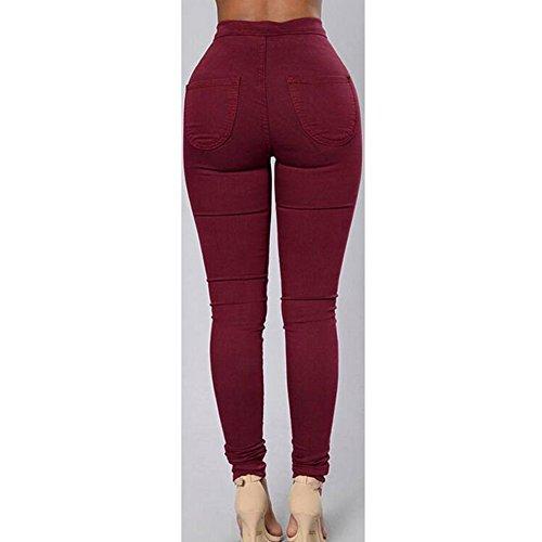 Jeans Denim Collant Printemps Vintage Taille Pantalon rouge Automne pour en Slim Haute Stretch Femme Leggings Dihope Vin 7x1qYXwq