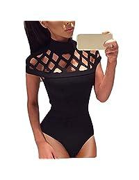 XWDA Women's Sexy Bodysuit Cutout High Neck Jumpsuit Leotard Romper Tops