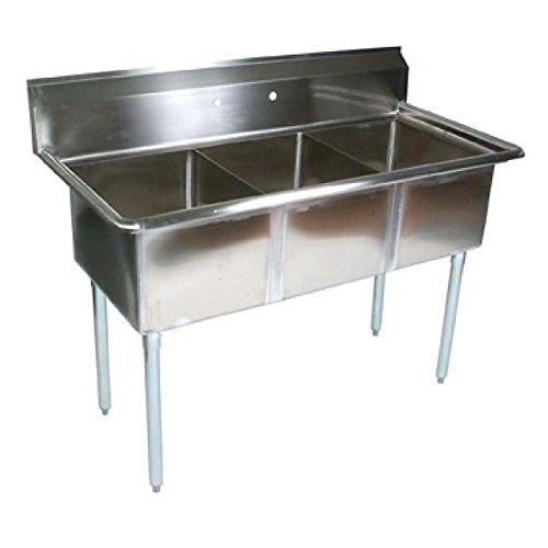 John Boos E Series Stainless Steel Sink, 12'' Deep Bowl, 3 Compartment, 53'' Length x 25-1/2'' Width by John Boos