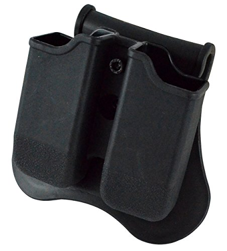 Glock 27 Paddle Holster (Dual Magazine 360 Swivel Paddle Pouch, Fits 9mm .38 .40 Caliber Glock 17 19 22 23 25 26 27 31 32 33 34 35 37 38 39)