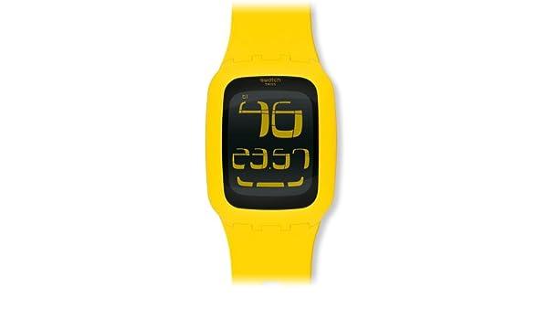 Swatch Swatch Touch Yellow SURJ101 - Reloj digital de cuarzo unisex, correa de plástico color amarillo (luz, alarma, cronómetro): Amazon.es: Relojes
