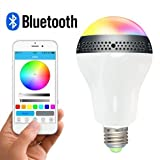 Gtide E27/E26 RGB Dimmable Multicolored Smart Bluetooth 4.0 LED Light Bulb Lamp Speaker with Timing Function and APP Control for IOS/Android,iPhone, iPad, Android Phone and Tablet