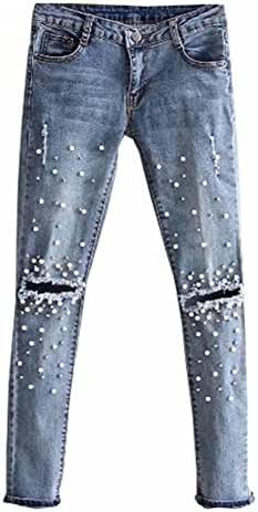 LifeShe ripped jeans for women denim embroidered rivet pearl pants