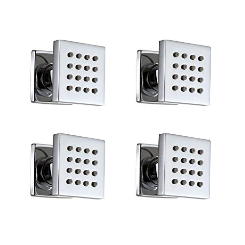 4 pcs Bathroom Water Saving Shower Square Solid Brass Body Sprays Massage with Chrome Finish Spa Jets Sets In Wall Shower (Square Body Spray)