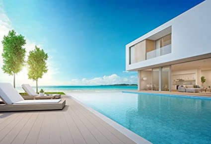 Laeacco 7x5ft Luxury Beach House Photography Background Sea View Swimming  Pool Modern Design Vacation Home Big Building 3D Rendering Residential  Hotel ...