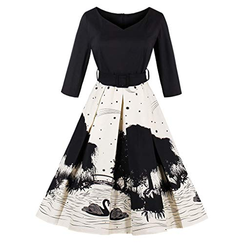 Women Three Quarter Sleeve Swan Print Vintage Evening Party Swing Bodycon Retro Tea Belt for $<!--$21.70-->