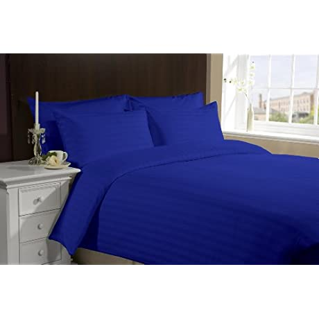 LACASA BEDDING 800 TC Egyptian Cotton Duvet Set Italian Finish Stripe Queen Royal Blue