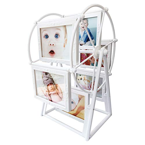 XBEEK Baby Photo Frame with 12 Photos Shows for 5in Photographs, Windmill Ferris Wheel Shape with Glass Front, Baby's First Year Keepsake Picture Frame