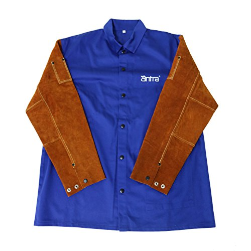 Antra WWJ-120XL Flame Resistant Cotton Welding Jacket with Split Cowhide Sleeves Size XL