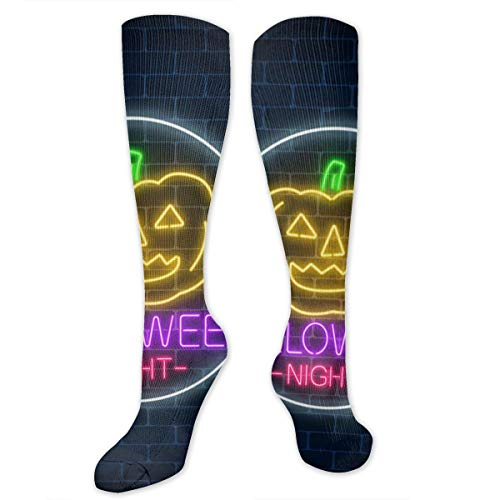SOITEAM Glowing Neon Sign of Halloween Invitation Banner Polyester Cotton Socks,Compression Socks for Women&Men-Best for Running,Funky Socks for Men,Stylish and Eye-Catching Party Socks.