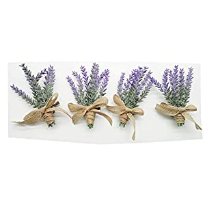Yokoke Artificial Lavender Flowers Boutonniere Bouquet Corsage Wristlet 4 Pcs Nearly Natural Fake Purple Plant with Burlap Bow for for Wedding Church Party Home Decor 1