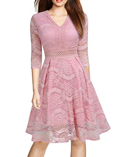 Mmondschein Women Vintage 1930s Style 3/4 Sleeve Black Lace A-line Party Dress S Pink