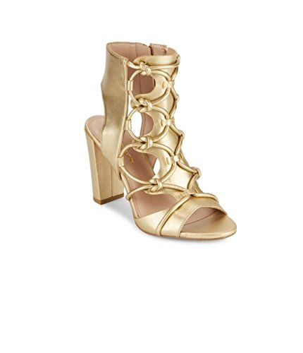 BCBGeneration Fay Metallic Lace-Up Sandals Color Gold (8.5 B (M) US, Gold) - Gold Colour Block