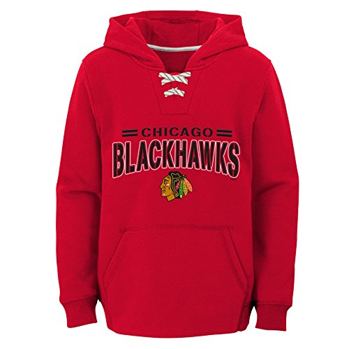 Outerstuff NHL Chicago Blackhawks Youth Boys Standard Issue Fleece Hoodie, Large(7), Red