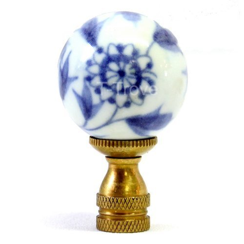 Porcelain Ball Finial - Blue And White Porcelain Floral Ball Finial