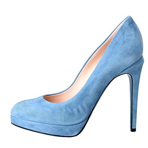 Scarpe Da Donna Tacco Alto In Pelle Scamosciata Blu Fendi Da Donna