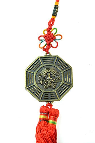 Luos Feng Shui yin yang with protective fu dog lion head hanging tassel ornament