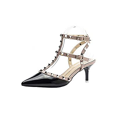 An'Dee Women's Fashionable Charming Gold Stud T-Strap Pointed Toe High Heel Shoes