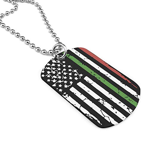 American Italian Flag Military Necklace Dog Tag Pendant Jewelry Necklace