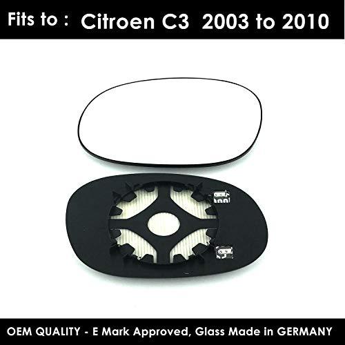/2010/de pasajeros izquierda Lado Derecho ala puerta espejo convexo cristal climatizada con respaldo placa Para Citroen C3/2002/