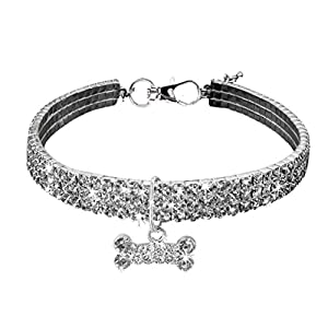 "Sunward Couture Designer Fancy Crystal Pet Cat Dog Necklace Jewelry,Adjustable Bling Rhinestones Big Bone Charm for Pets Cats Small Dogs Female Puppy (Silver, Length:7.8"")"