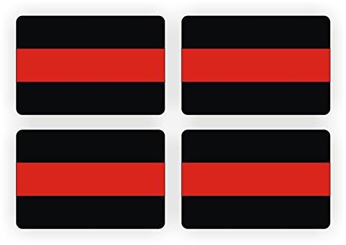 Firefighter 2x3 Thin Red Line Decals / Stickers / 4-Pack Bumper Helmet Window Laptop Hard Hat Fire Department