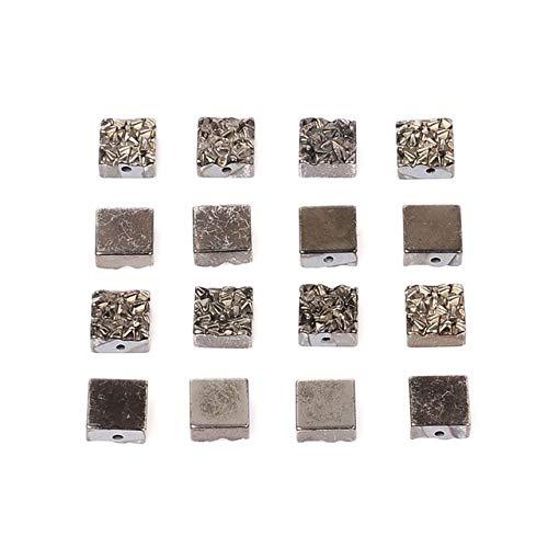 Calvas 10/84mm Natural Stone Bright Light Druzy Hematite Beads Multicolor Flat Square Beads for Bracelet Necklace Jewelry DIY Making - (Color: 5, Item Diameter: 10mm)