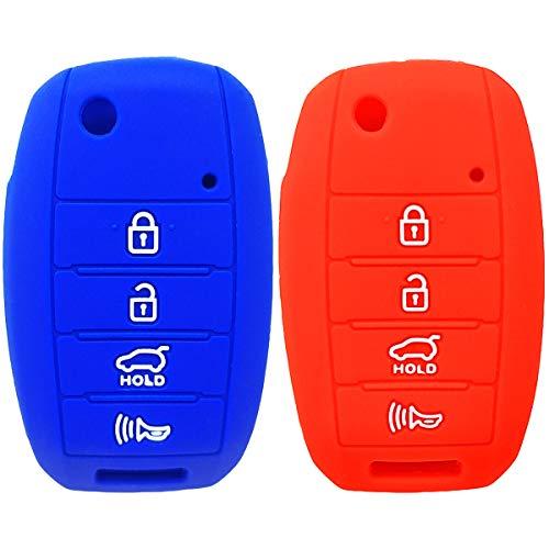 (2Pcs WERFDSR Sillicone key fob Skin key Cover Keyless Entry Remote Case Protector Shell for Kia Sorento Sportage Rio Soul Forte Optima Carens Rose 4 button smart remote red blue)
