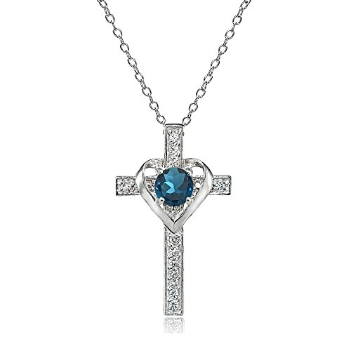 Sterling Silver London Blue Topaz and White Topaz Heart in Cross Necklace for Women Girls ()