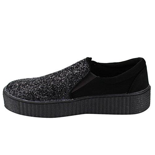 FOREVER FP63 Womens Glittering Slip On Elastic goring Street Sneakers Black 7SJbUTD