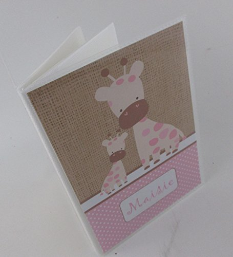 Baby Girl Photo Album .Printed Burlap Pink Giraffe. 490. 4x6 or 5x7 pictures, baby shower gift