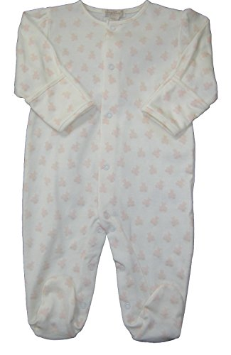 (Kissy Kissy Baby-Girls Infant Organic Mini Bears Print Footie-Ecru With Pink-6-9 Months)