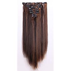 """S-noilite Full Head Clip in Hair Extensions Diy Dye Ombre 2 Tones 8 Pcs Straight Curly Black Brown Blonde (26""""-Straight, darkbrown & coffee brown)"""