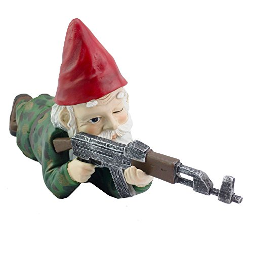 Military Garden Gnome with an AK47   Funny Army Statue, Perfect for Gun Lovers, Military Collectors, Combat Enthusiasts & Army Men   Indoor & Outdoor Lawn Yard Decor (Prone, Camo)