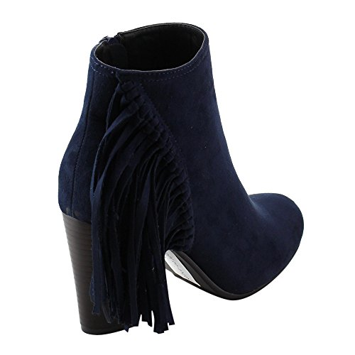 Inside Stacked Heel Booties Chunky Ankle Zip AE01 Reneeze Women's Navy Fringe twUFtTBq