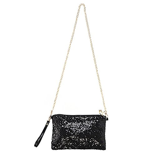 Women Glitter Bling Sequin Party Evening Bag Handbag Envelop Purse Shoulder Bag