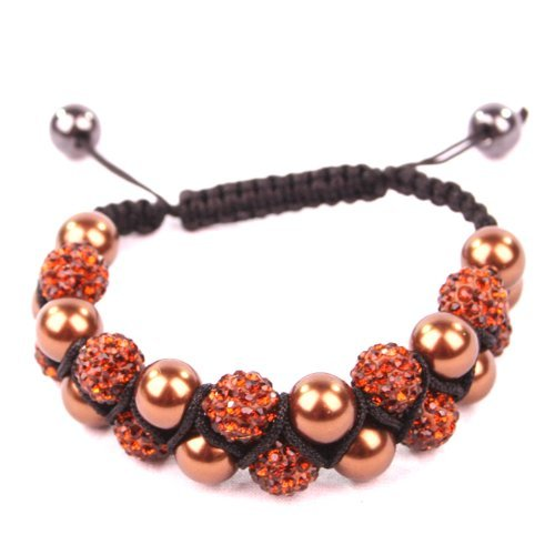 BG3126-2 Double Strand Brown Bronze Sparkly Crystal & Pearl Shamballa Style Bracelet by Black Ginger