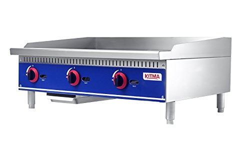 Commercial Countertop Manual Griddle - KITMA 36'' Natural Gas Flat Top Griddle - Restaurant Equipment for Barbecue, 90,000 BTU, Only Ship to CA, NV, AZ ()