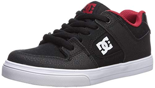 DC Boys' Pure Skate Shoe, Black/Athletic RED/White, 6 M US Big Kid