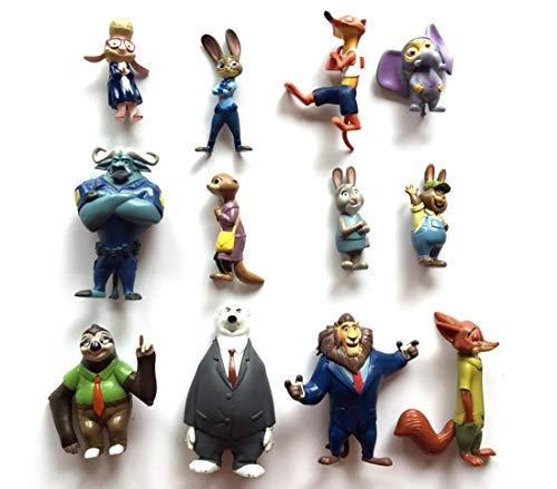 ATII Zootopia Deluxe Figure Set of 12 Toy Kit with Figures | Cake Topper Cake Decoration | Figures to Decorate Car House or Desk ()