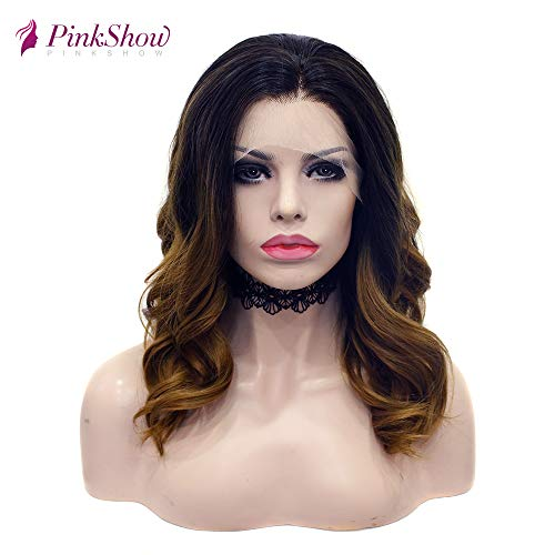 PINKSHOW Brown Lace Front ombre Wig Dark Root Synthetic Long Wave Hair Wigs For Women Half Hand Tied Heat Resistant Natural Looking Wigs 18 Inch